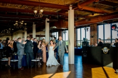 Wedding reception at Ariel International Event Center in Cleveland, Ohio.  Bride and groom grand entrance.