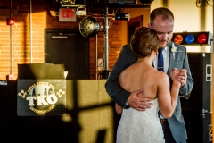 Wedding reception at Ariel International Event Center in Cleveland, Ohio. Bride and groom first dance.